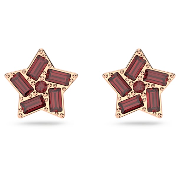 Stella 耳釘, 星星, 紅色, 鍍玫瑰金色調 - Swarovski, 5622153