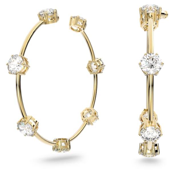 Constella hoop earrings, White, Shiny gold-tone plated - Swarovski, 5622722