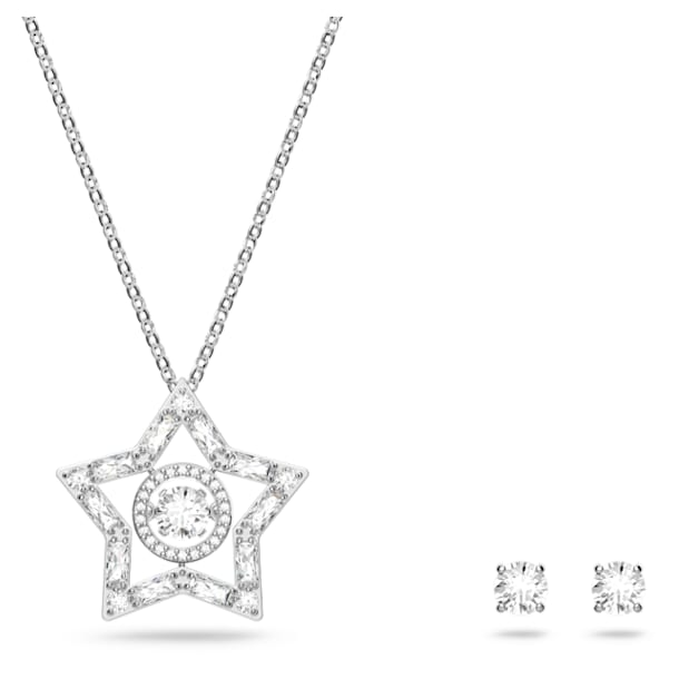 Set Stella, Bianco, Placcato rodio - Swarovski, 5622729