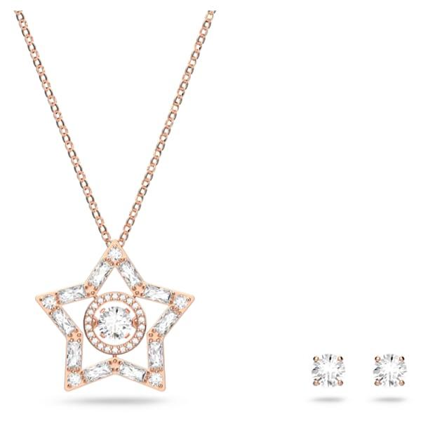 Stella set, White, Rose gold-tone plated - Swarovski, 5622730