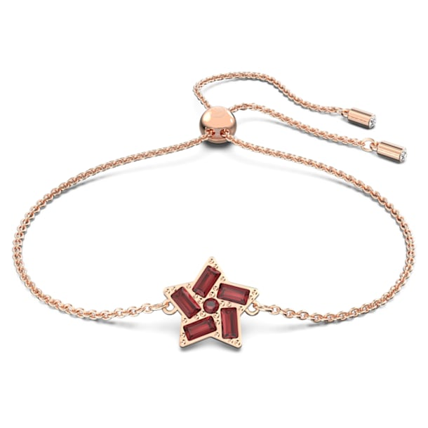 Stella bracelet, Star, Red, Rose-gold tone plated - Swarovski, 5624353