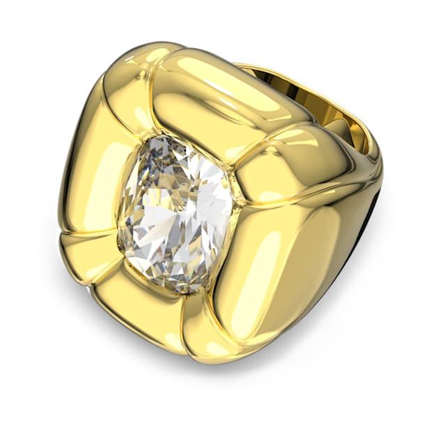 Dulcis cocktail ring, Cushion cut crystals, Yellow, Gold-tone plated - Swarovski, 5624372