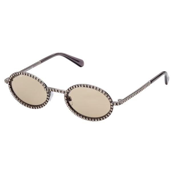 MIL002 sunglasses, Oval, Pavé crystals, Brown - Swarovski, 5625295