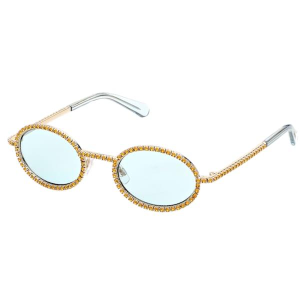 MIL002 sunglasses, Oval, Pavé crystals, Green - Swarovski, 5625296