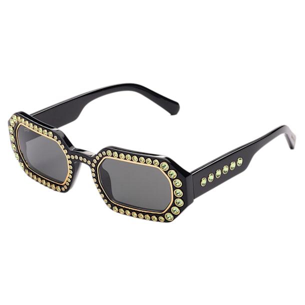 MIL002 zonnebril, Octagon, kristalpavé, Zwart - Swarovski, 5625300