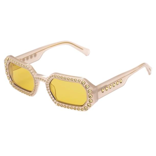 MIL002 zonnebril, Octagon, kristalpavé, Geel - Swarovski, 5625302