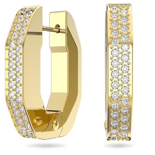 Dextera hoop earrings, Octagonal, White, Gold-tone plated - Swarovski, 5626084