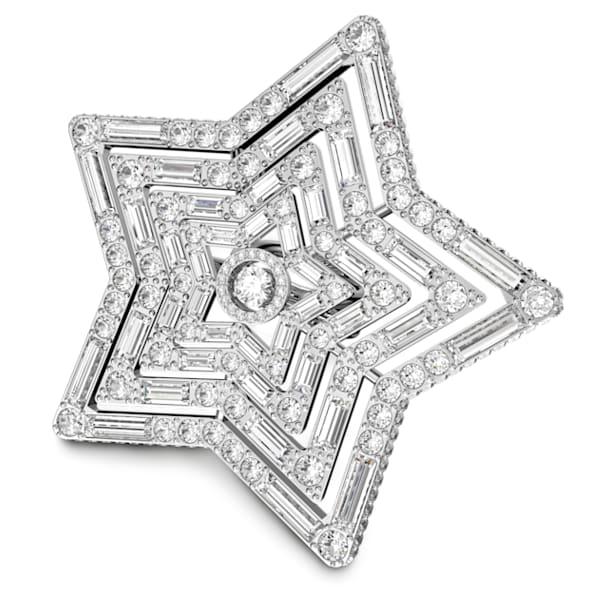 Anel Stella, Estrela, Grande, Branco, Lacado a ródio - Swarovski, 5626366