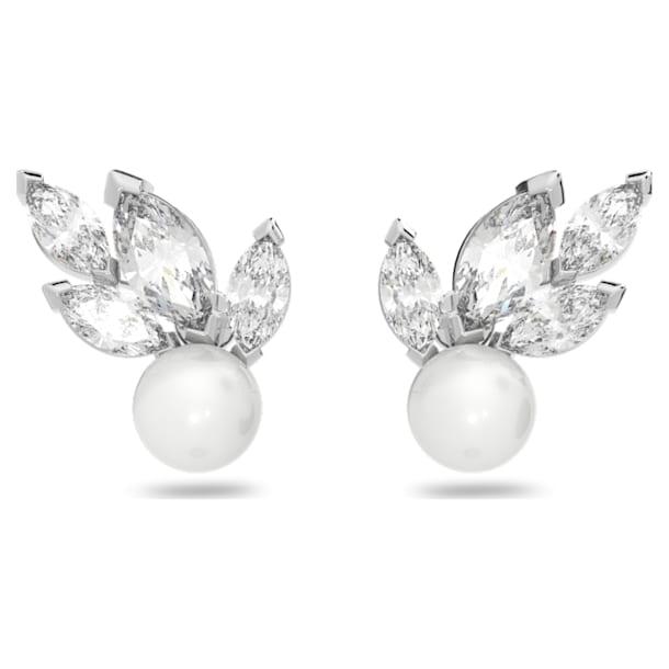 Kolczyki sztyftowe Louison Pearl, białe, powlekane rodem - Swarovski, 5627346