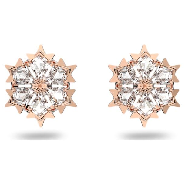 Kolczyki sztyftowe Magic, białe, w odcieniu różowego złota - Swarovski, 5627348