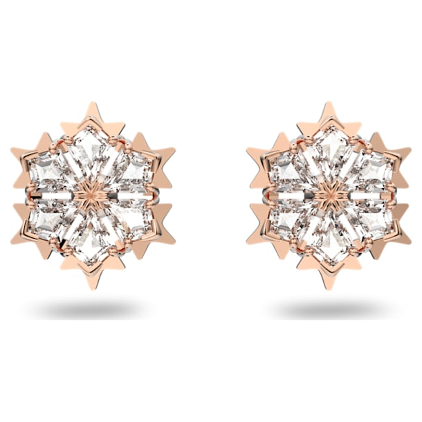 Magic Pierced Earrings, White, Rose-gold tone plated - Swarovski, 5627348