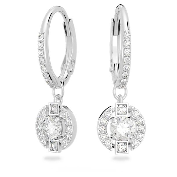 Swarovski Sparkling Dance Round Pierced Earrings, White, Rhodium plated - Swarovski, 5627349