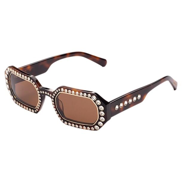 Óculos de sol MIL002, Octogonal, Cristais de lapidação pavé, Castanho - Swarovski, 5627866