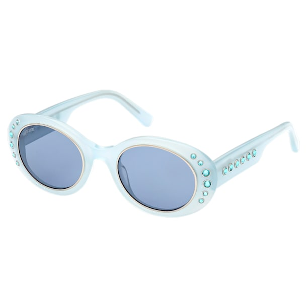 Óculos de sol MIL002, Tamanho grande, cristais Pavé, Azul - Swarovski, 5627867