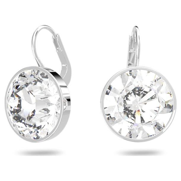 Bella earrings, Round, White, Rhodium plated - Swarovski, 883551