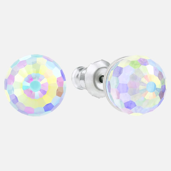 Solitaire Pierced Earrings Multi Coloured Rhodium Plated